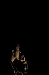 04/52 Dichter und Denker? (Schwubb) Tags: silhouette self project dark 50mm nikon think thinker reflect lowkey selbstportrait projekt dunkel 52 selbst denker denken nachdenken 52weeks cogitate grübeln d7000 52wochen