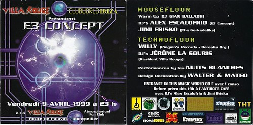 "Jimi Frisko - Flyer 09/04/1999 - E3 Concept @ Villa rouge (Montpellier) - (Patrice Heyoka flyers) <a style=""margin-left:10px; font-size:0.8em;"" href=""http://www.flickr.com/photos/110110699@N03/12211303274/"" target=""_blank"">@flickr</a>"