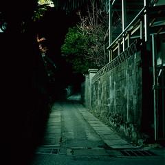 small alleyway (akira ASKR) Tags: night fuji okinawa 沖縄 naha provia100f 路地 夜 hasselblad500cm rdpiii 那覇市 planarcf80mm 201404 那覇市小禄