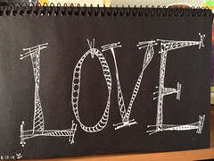 Love (Kathleen Sharp) Tags: white black love pen lettering doodled