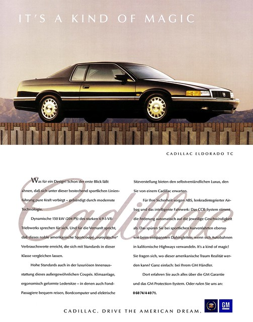 auto cars car sport ads advertising us model automobile gm publicidad ad 8 voiture cadillac eldorado 150 advertisement anúncio 49 american coche carros tc advert carro 1992 autos werbung publicité modell coupe touring v8 automobiles coches reklame 90s sporty advertisment coupé sportscar voitures publicitario antigo adverts automóvil anzeige amerikanisch northstar sportlich automobil 2door pkw kfz mkviii anzeigen 90er kraftfahrzeug mk8 autowerbung werbungen reklamen sportcoupé it'sakindofmagic autowerbungen drivetheamericandream