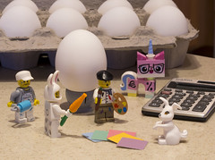 Easter Prep is underway! (jessicagreen0202) Tags: color bunny easter artist lego humor kitty adventure eggs decorator minifigures biznis