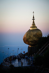 Golden Rock at sunset (Lil [Kristen Elsby]) Tags: temple pagoda southeastasia dusk burma buddhist topv1111 buddhism editorial myanmar buddhisttemple sacredsite kyaiktiyo goldenrock travelphotography kyaikhtiyo kyaikto kyaiktyo monstate canon5dmarkii myanmar2013