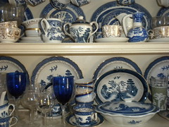 blue willow (Just Back) Tags: china camera flowers blue white tree history love cup leaves garden scenery dish antique chinese southcarolina plate bowl scene shelf southern carolina heirloom botany porcelain creamer saucer lid glassware outofafghanistan