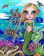 """Turtle Cove Mermaid"" painting by Jaz Higgins (Jaz Higgins) Tags: ocean blue original sea cute green eye art beach girl animals coral painting big eyes whimsy artist underwater turtle surrealism jasmine australian surreal pop fantasy blonde surrealist eyed mermaid higgins reef jaz whimsical lowbrow"