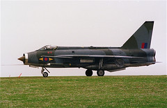 Lightning F.3 XP707 departs Valley on 9th May 1986 for Binbrook, having been operating all week out of STCAAME on an LTF IWI live firing training detachment. (stcaamekid) Tags: valley f3 lightning 1986 range weapons bac instructor detachment binbrook ltf firings 11squadron firestreak xp707 stcaame