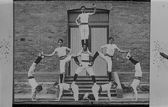 Human pyramid formed by members of the Ebenezer Gym Club (State Library Victoria Collections) Tags: 1920s pyramid human gymnastics statelibraryofvictoria