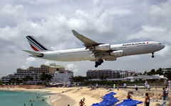 Maho Beach (pandt) Tags: sky france beach water st clouds airplane sand martin air jet sint runway maho maarten sunsetbeachbar