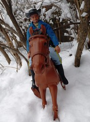 Riding Through the Woods (atjoe1972) Tags: horse snow cold vintage toys actionfigure cowboy retro 70s 1970s seventies wildwest mattel frontier cavalry oldwest bigjosh karlmay bigjim atjoe1972