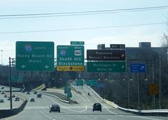 Near the I-95/I-85 split (peachy92) Tags: usa virginia us unitedstates unitedstatesofamerica petersburg va roadsign roadsigns i95 i85 2015 petersburgva petersburgvirginia roadgeek biggreensign us460 fujifilmfinepixxp200
