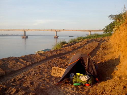 Camping urbain, Kampong Cham, Cambodge