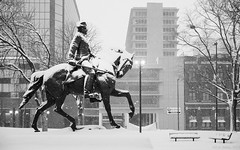 "General ""Mad"" Anthony Wayne (R) (D A Baker) Tags: general mad anthony wayne sculpture statue fort ft freimann square park 1918 july 4 4th fourth hayden allen county indiana summit city winter storm snow tags george ganiere fuji fujifilm x100s daniel baker da"