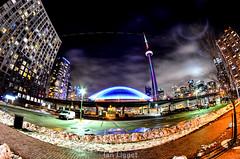 CN Tower through a Fish-Eye (I.C. Ligget) Tags: toronto ontario canada tower skyline night cn buildings nikon long exposure cntower skyscrapers d5100 nikond5100