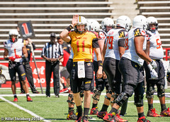 Maryland_White_on_Red_20160416_0443.jpg (hillels) Tags: park game college sports field sport photography one football spring team dj outdoor stadium maryland capitol practice terps byrd durkin collegepark testudo byrdstadium terp capitolonefield djdurkin