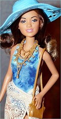 Barbie Glam Vacation Doll 2016 (farmspeedracer) Tags: blue vacation woman black beach girl hat toy one friend doll barbie glam cassandra dye piece kassandra mattel aa tye playline