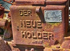 DER NEUE HOLDER (baer99) Tags: old detail metal germany lumix landwirtschaft rusty oldtimer rost metall hdr 1941 bauernhof pfalz holder metzingen pflug baujahr1941 gebrholder