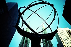 The bearer of the world. (UrbaceousSentiment) Tags: nyc newyorkcity blue sky film analog lomo lca xpro crossprocessed stpatrickscathedral himmel slide atlas analogue pushed blau diafilm