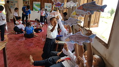 Laos Students Making Fish Art
