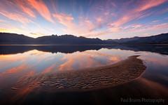 Theewaterskloof Sandbar Dusk (Panorama Paul) Tags: reflections southafrica dusk streaky pinkclouds westerncape overberg nikkorlenses nikfilters theewaterskloofdam nikond800 wwwpaulbruinscoza paulbruinsphotography