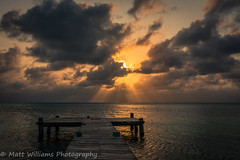 Sweet Memories (Matt Williams Gallery) Tags: ocean travel light sunset reflection water clouds landscape island pier nikon warm belize tropical caribbean lightrays fineartphotography travelphotography landscapephotography d7100 mattwilliamsphotography cocoplumisland