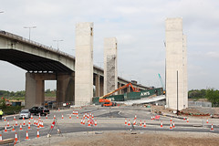 Barton lift bridge collapsed 17th May 2016 (John Eyres) Tags: park new bridge manchester canal is trapped ship lift vale deck wharf barton seen blocking currently collapsed arklow eccles irwell the