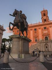 Hilltop Square, Rome. 20th May 2016. (craigdouglassimpson) Tags: italy sculpture rome buildings statues michelangelo eveninglight piazzadelcampidoglio