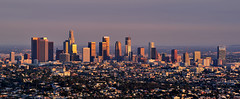 LA Skyline (Rebecca Ang) Tags: california city light sunset urban usa skyline architecture golden la losangeles cityscape outdoor nopeople clear losangelesskyline laskyline rebeccaang