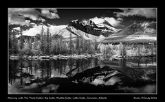 Morning with The Three Sisters: Big Sister, Middle Sister, Little Sister, Canmore, Alberta (kgogrady) Tags: trees blackandwhite bw panorama canada clouds landscape blackwhite spring nikon pano noone ab nopeople alberta infrared peaks canmore littlesister bigsister oxbow dx canadianrockies 2016 westerncanada middlesister canadianmountains d80 canadianlandscapes canmoreab cans2s albertalandscapes nikonafs18200mmgvr picturesofalberta photosofalberta canadianrockieslanscape photosofthethreesisters picturesofthethreesisters