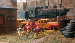 HOW WE ONCE WERE (eks4003) Tags: scale toys layout model taxi trains steam locomotive boxcar ho 187 engineer steamengine taxicab modelrailroad modeltrains bigrig hoscale