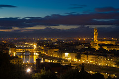 Firenze (atropo8) Tags: italy panorama clouds river nikon fiume firenze bluehour arno toscana palazzovecchio piazzalemichelangelo d7000