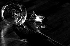 broken moment (krelina) Tags: wood light blackandwhite bw broken glass dark wine sw moment lowkey glas wein schwarzweis