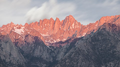 Mt. Whitney Sunrise (David Colombo Photography) Tags: mountain motion blur clouds sunrise landscape nikon rocks zoom outdoor motionblur sierras mtwhitney mountwhitney alpenglow sierranevadas d800 alabamahills mountainpeak nikkor70200f4 davidcolombo davidcolombophotography