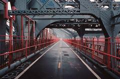 Williamsburg Bridge (Chris Giuliano) Tags: bridge 35mm film brooklyn ny nyc newyork newyorkcity williamsburgbridge fog rain cloudy city eastriver manhattan lowereastside filmphotography canonae1 kodakportra400 portra chrisgiuliano