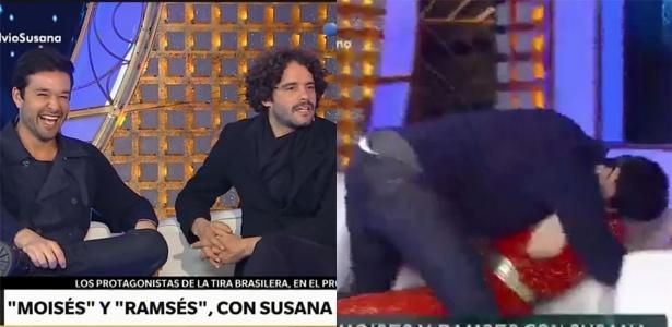 Sérgio Marone beija apresentadora ao vivo em programa da Argentina