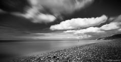 Omaha Beach 001 (michael_marciniak_mm) Tags: longexposure blackandwhite bw france beach clouds strand frankreich meer wasser adams urlaub wolken normandie ansel omahabeach schwarzweis fujixt1