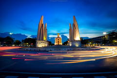 Democracy Monument (akimesto) Tags: city longexposure sky urban monument skyline architecture night clouds wow thailand democracy cityscape nightscape outdoor bangkok a7 skycraper ratchadamnoenklangroad phranakhondistrict
