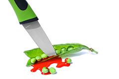 stop the vegan murderers! (brescia, italy) (bloodybee) Tags: 365project peas pod vegetables food knife kill murder blood stab humor fun veggie vegetarian vegan diet eat stilllife white green red