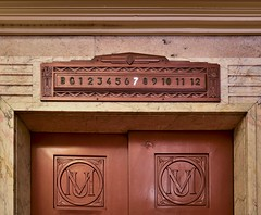 Manchester Unity Building (phunnyfotos) Tags: phunnyfotos australia victoria vic melbourne 1932 building architecture interior inside indoor lift elevator sign floors doors copper logo lettering typography font liftlobby manchesterunity marcusbarlow deco artdeco nikon d750 nikond750 7 marble design style