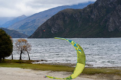 Getting Ready to Take Off (Jocey K) Tags: autumn trees newzealand sky mountains clouds wind autumncolours southisland centralotago windsurfing windsurfer lakewanaka tripdownsouth
