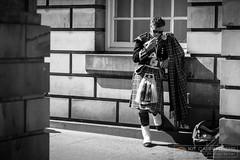 Fag break (Kit Carruthers) Tags: summer blackandwhite bw monochrome june scotland edinburgh candid streetphotography piper bagpipes theroyalmile 2016 samyang85mmf14 sonya7ii
