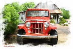 Old Red (Explored) (Robert Holler Photography) Tags: painterly station manipulated wagon jeep manipulation slider willys hss leipersfork