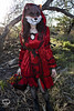 Through the Woods 7468 (JoDi War) Tags: trees sunset red wild nature grass fairytale dark lost blood woods wolf dress boots lace gothic victorian velvet hood storybook rhyme grandmothershouse nurseryrhyme throughthewoods storytale