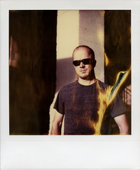 Don't Mess With Texas Troy (tobysx70) Tags: california ca street toby portrait film sunglasses polaroid sx70 photography mess texas with riverside time flames troy shades dont instant hancock expired zero flaming tz 6th timezero 050316 0906 polawalk doslagospolawalk