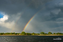 Double Half Rainbow (kevin-palmer) Tags: wyoming glenrock june summer evening nikond750 color colorful rainbow bigmuddypond water rain