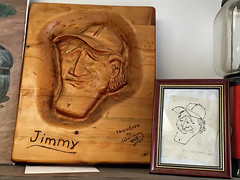 Chainsawn from a penned caricature (SteveMather) Tags: wood portrait sculpture pen paper wooden carved napkin jimmy cartoon chainsaw jim caricature sculpted chainsawed chainsawn