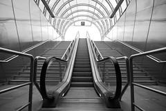 esc (POSITiv) Tags: roof bw glass lines architecture underground prague metro escalator perspective prag ubahn architektur dach perspektive rolltreppe positiv