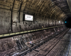 Eerie Subway Tunnel (DILLEmma Photography) Tags: new travel black art abandoned station sign japan train photoshop wow wonderful dark way subway spectacular tokyo photo moving scary fantastic asia gloomy risk image artistic metro path top sony details country ace great creative tracks trails railway tunnel best creepy used adventure direction stunning radical dare alive concept unreal top100 portfolio charming scared foreign fabulous incredible effect f828 bizarre hdr extraordinary impressive marvelous important thrill exciting surprising vast astonishing magnificant staggering overwhelming thrilling shattering