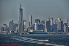 Queen Mary 2 passing lower Manhattan (Phyllis Featherstone) Tags: newyorkcity worldtradecenter statenisland qm2 queenmary2 reallyrightstuff nikond3200 newyorkharbor fortwadsworth ftwadsworth phyllisfeatherstone reallyrightstuffhead queenmaryvz050313 sigma18250macrolens