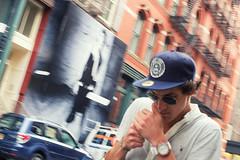 Mercer Street (BrianEden) Tags: 35mm aviators baseballcap cigarette cool fuji fujifilm lighting man manhattan mercerstreet ny nyc newyork smoking soho streetphotography sunglasses xpro1 unitedstates