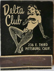 DELTA CLUB PITTSBURG CALIF (FRONT) (ussiwojima) Tags: california bar club advertising lounge cocktail girlie feature pittsburg matchbook matchcover deltaclub